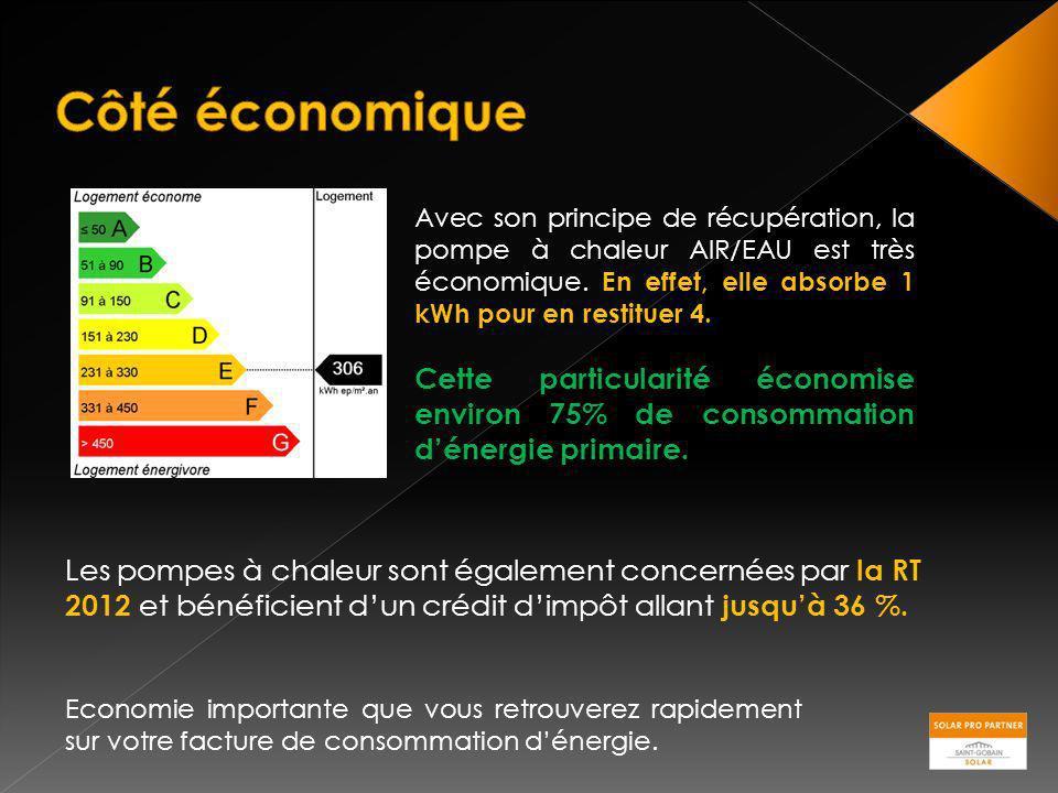 Avec son principe de récupération, la pompe à chaleur AIR/EAU est très économique. En effet, elle absorbe 1 kWh pour en restituer 4. Cette particulari