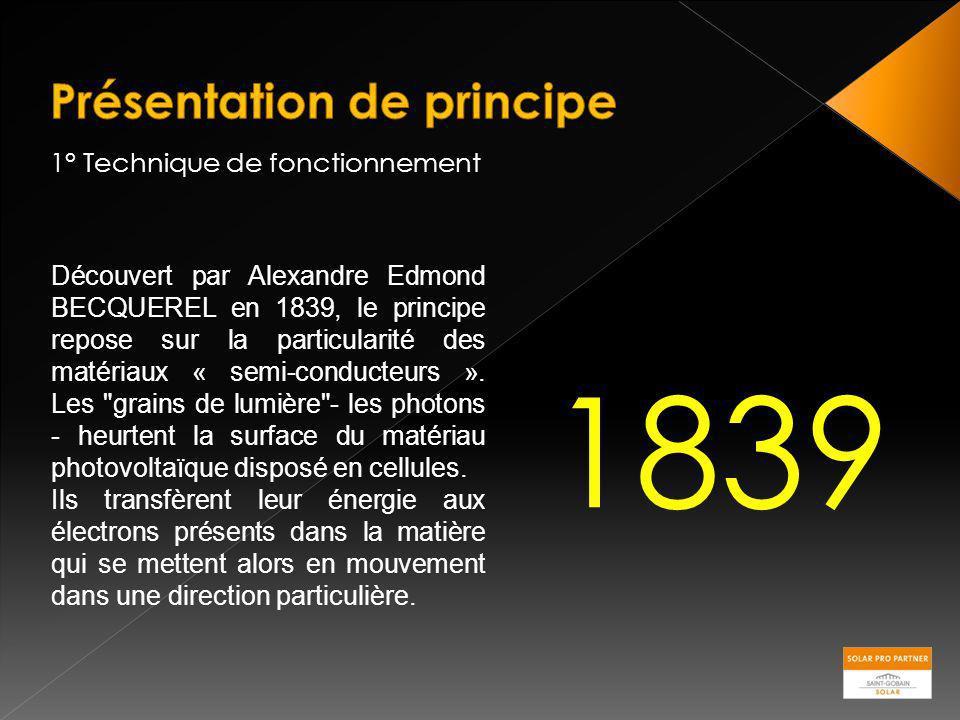 1° Technique de fonctionnement Découvert par Alexandre Edmond BECQUEREL en 1839, le principe repose sur la particularité des matériaux « semi-conducte