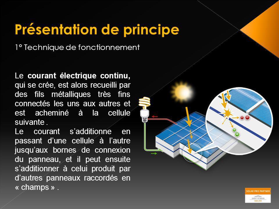 1° Technique de fonctionnement Le courant électrique continu, qui se crée, est alors recueilli par des fils métalliques très fins connectés les uns au