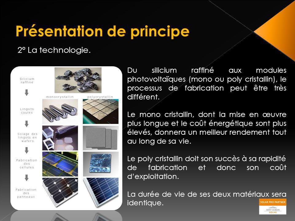 2° La technologie. Du silicium raffiné aux modules photovoltaïques (mono ou poly cristallin), le processus de fabrication peut être très différent. Le
