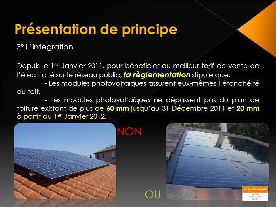 3° Lintégration. Depuis le 1 er Janvier 2011, pour bénéficier du meilleur tarif de vente de lélectricité sur le réseau public, la règlementation stipu