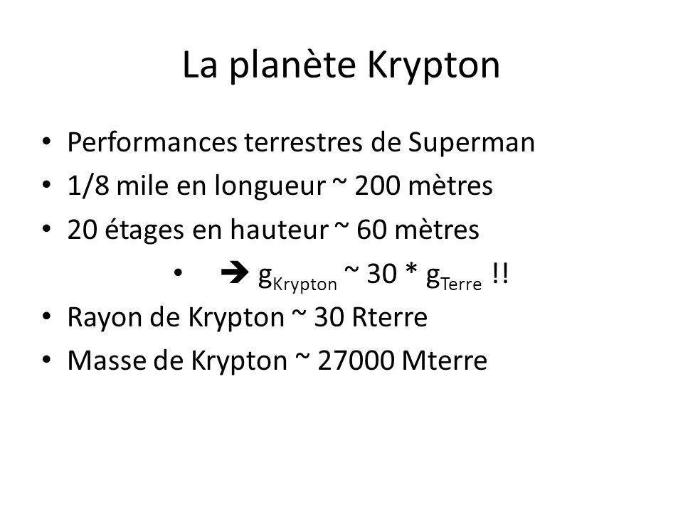 La planète Krypton Performances terrestres de Superman 1/8 mile en longueur ~ 200 mètres 20 étages en hauteur ~ 60 mètres g Krypton ~ 30 * g Terre !!