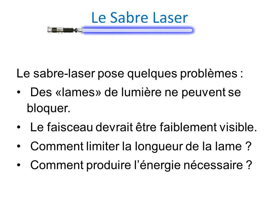 Le Sabre Laser Le sabre-laser pose quelques problèmes : Des «lames» de lumière ne peuvent se bloquer. Le faisceau devrait être faiblement visible. Com