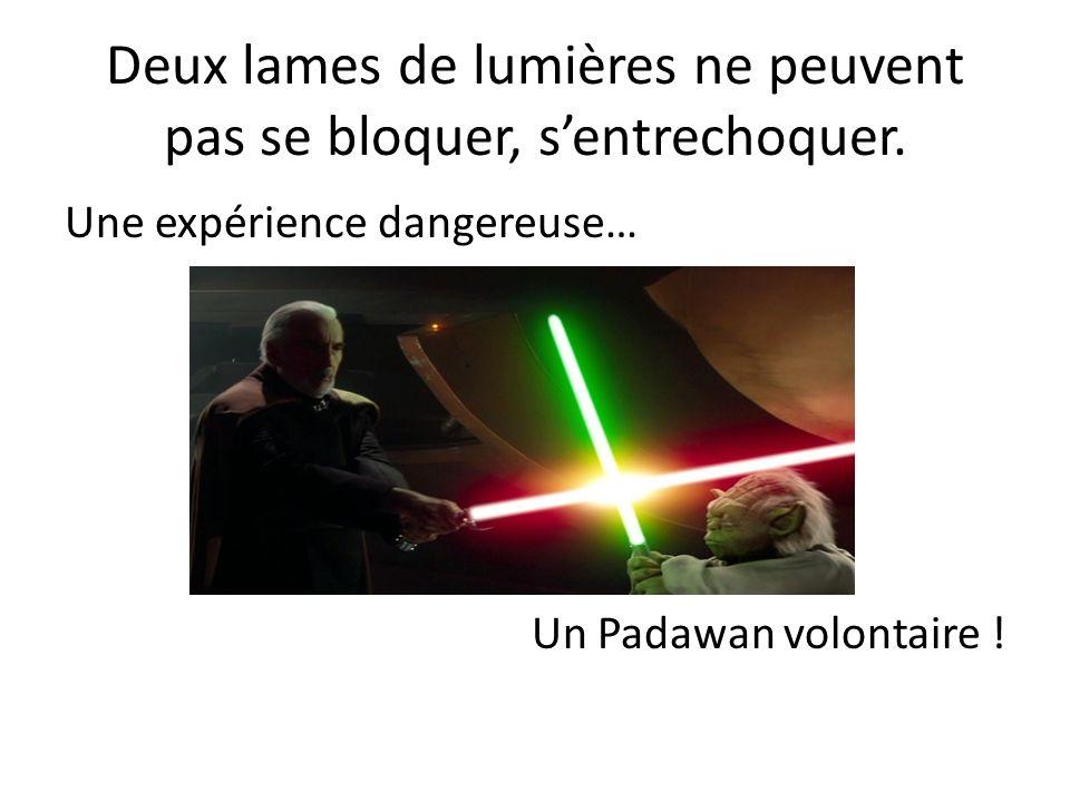 Deux lames de lumières ne peuvent pas se bloquer, sentrechoquer. Une expérience dangereuse… Un Padawan volontaire !