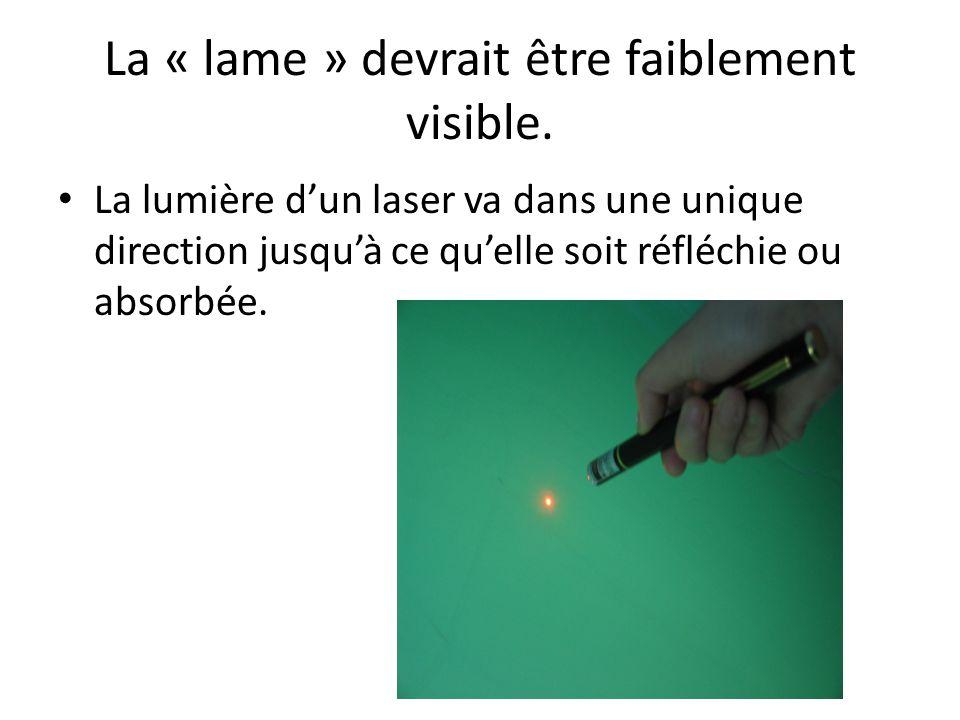 La « lame » devrait être faiblement visible. La lumière dun laser va dans une unique direction jusquà ce quelle soit réfléchie ou absorbée.