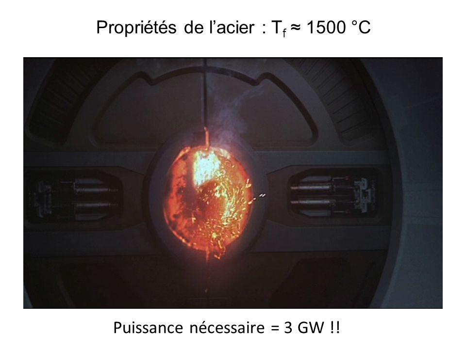 Propriétés de lacier : T f 1500 °C Puissance nécessaire = 3 GW !!