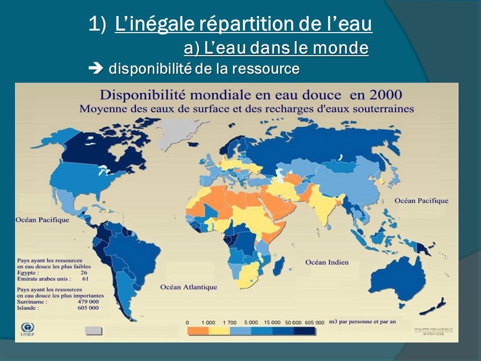 a) Leau dans le monde 1)Linégale répartition de leau a) Leau dans le monde disponibilité de la ressource disponibilité de la ressource