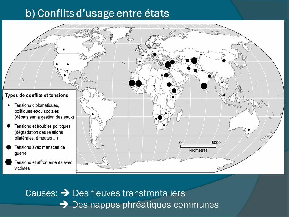 Causes: Des fleuves transfrontaliers Des nappes phréatiques communes b) Conflits dusage entre états