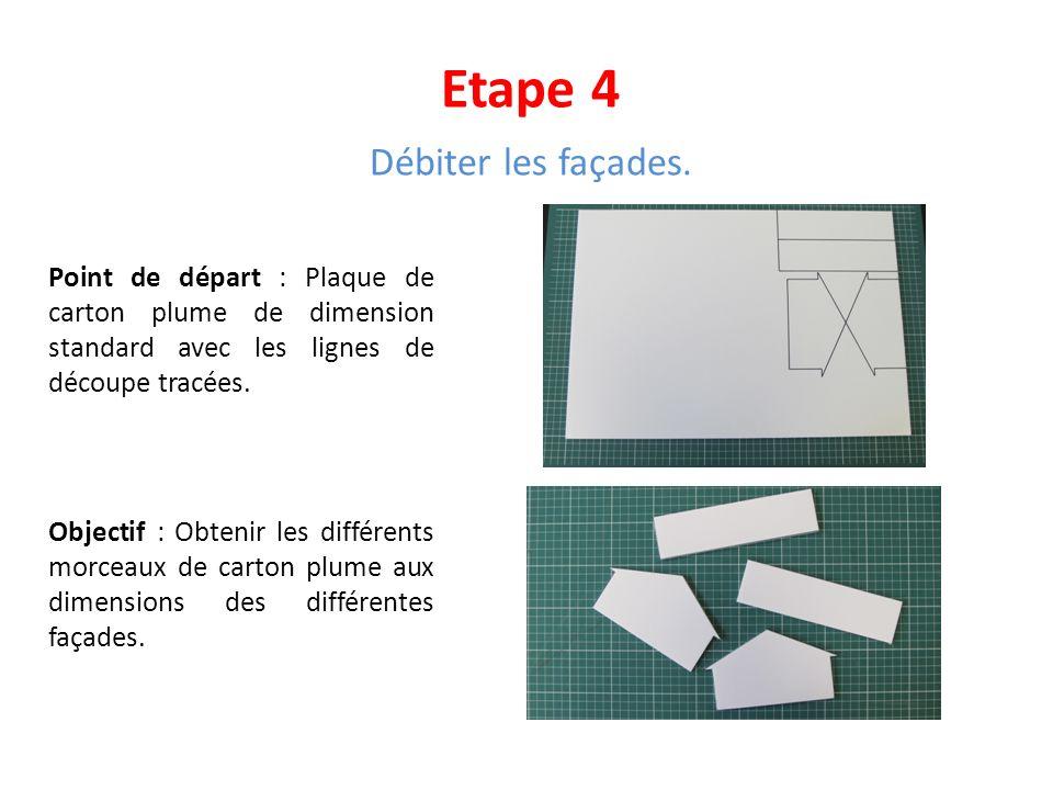 Etape 4 Débiter les façades. Point de départ : Plaque de carton plume de dimension standard avec les lignes de découpe tracées. Objectif : Obtenir les