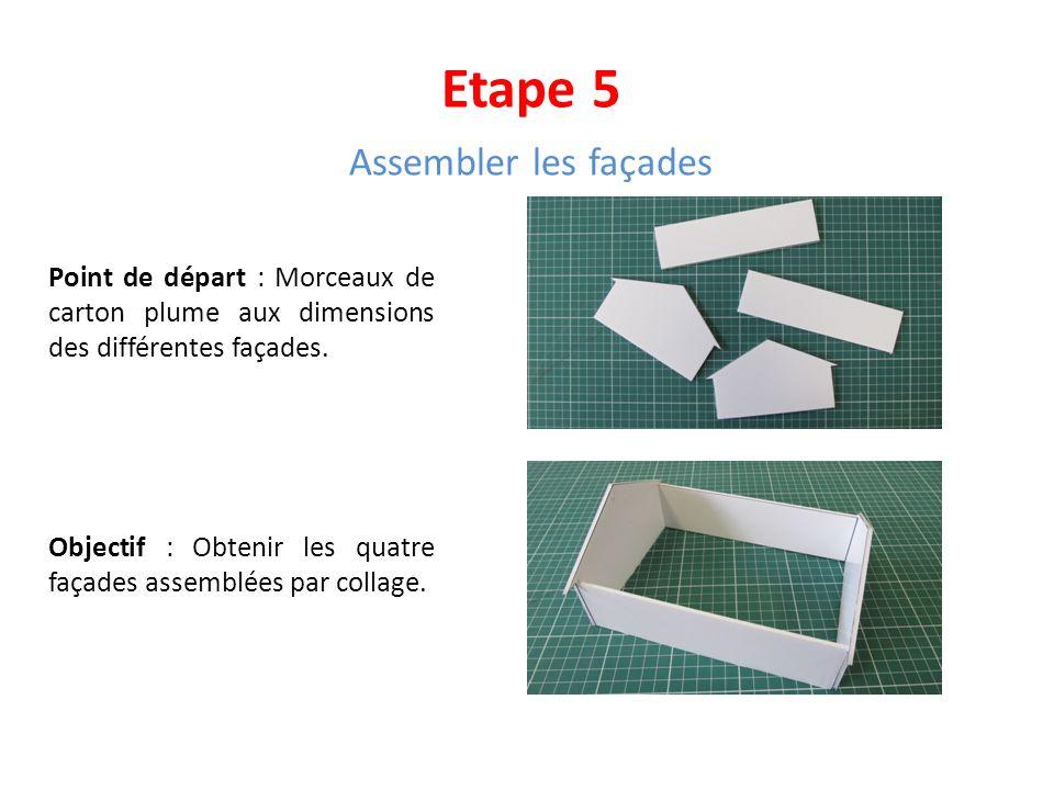 Etape 5 Assembler les façades Point de départ : Morceaux de carton plume aux dimensions des différentes façades. Objectif : Obtenir les quatre façades