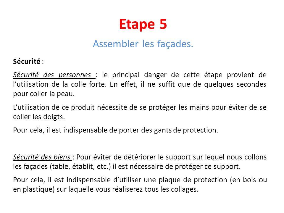 Etape 5 Assembler les façades. Sécurité : Sécurité des personnes : le principal danger de cette étape provient de lutilisation de la colle forte. En e