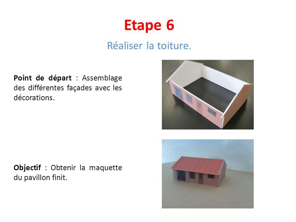 Etape 6 Réaliser la toiture. Point de départ : Assemblage des différentes façades avec les décorations. Objectif : Obtenir la maquette du pavillon fin