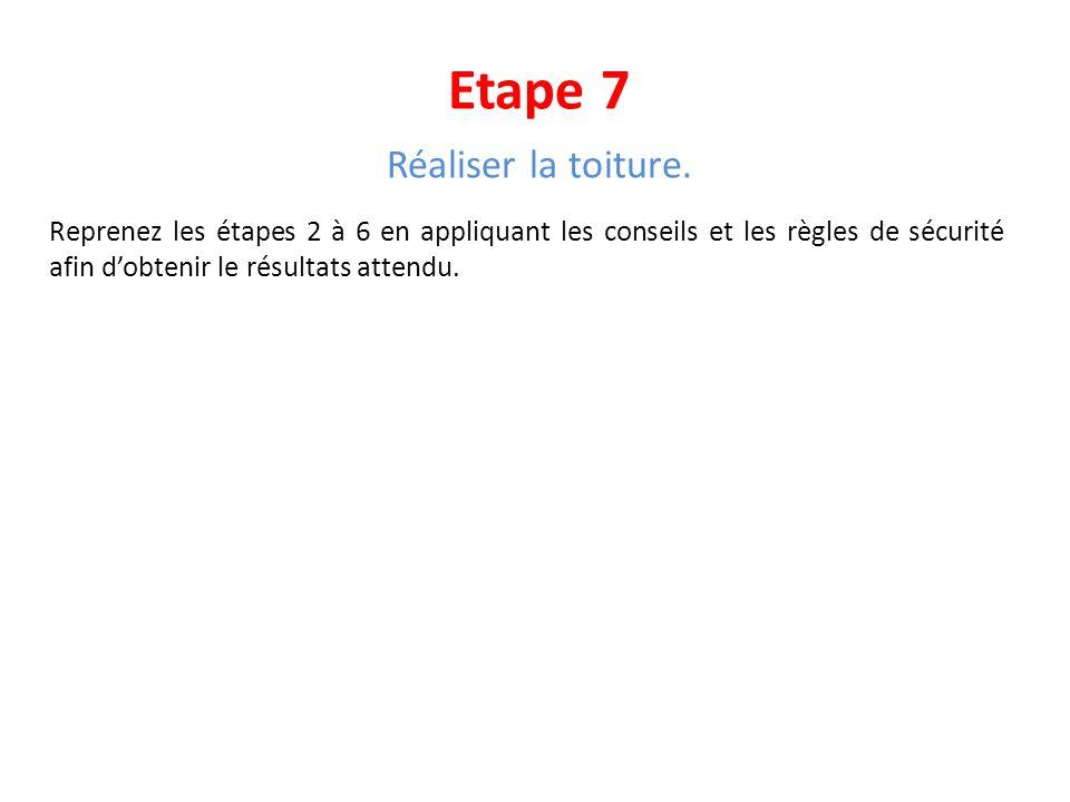 Etape 7 Réaliser la toiture. Reprenez les étapes 2 à 6 en appliquant les conseils et les règles de sécurité afin dobtenir le résultats attendu.