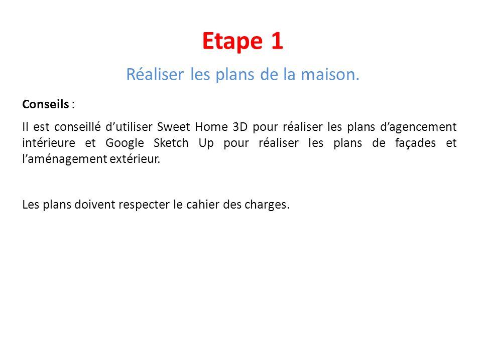 Etape 1 Réaliser les plans de la maison. Conseils : Il est conseillé dutiliser Sweet Home 3D pour réaliser les plans dagencement intérieure et Google