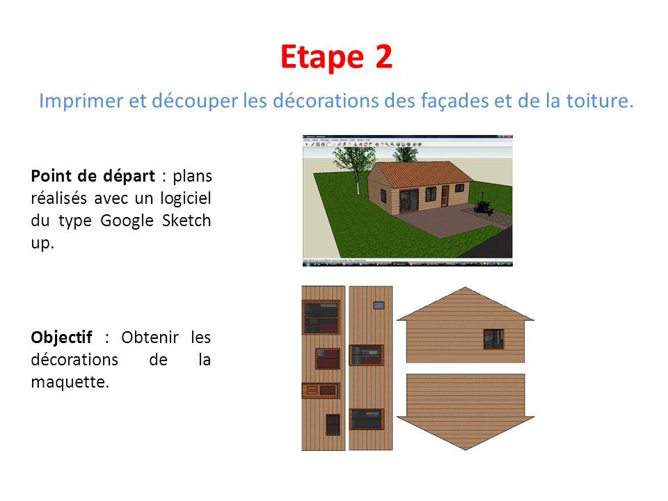 Etape 2 Imprimer et découper les décorations des façades et de la toiture. Point de départ : plans réalisés avec un logiciel du type Google Sketch up.