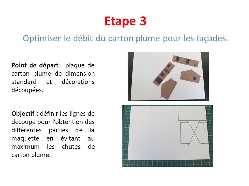 Etape 3 Optimiser le débit du carton plume pour les façades. Point de départ : plaque de carton plume de dimension standard et décorations découpées.