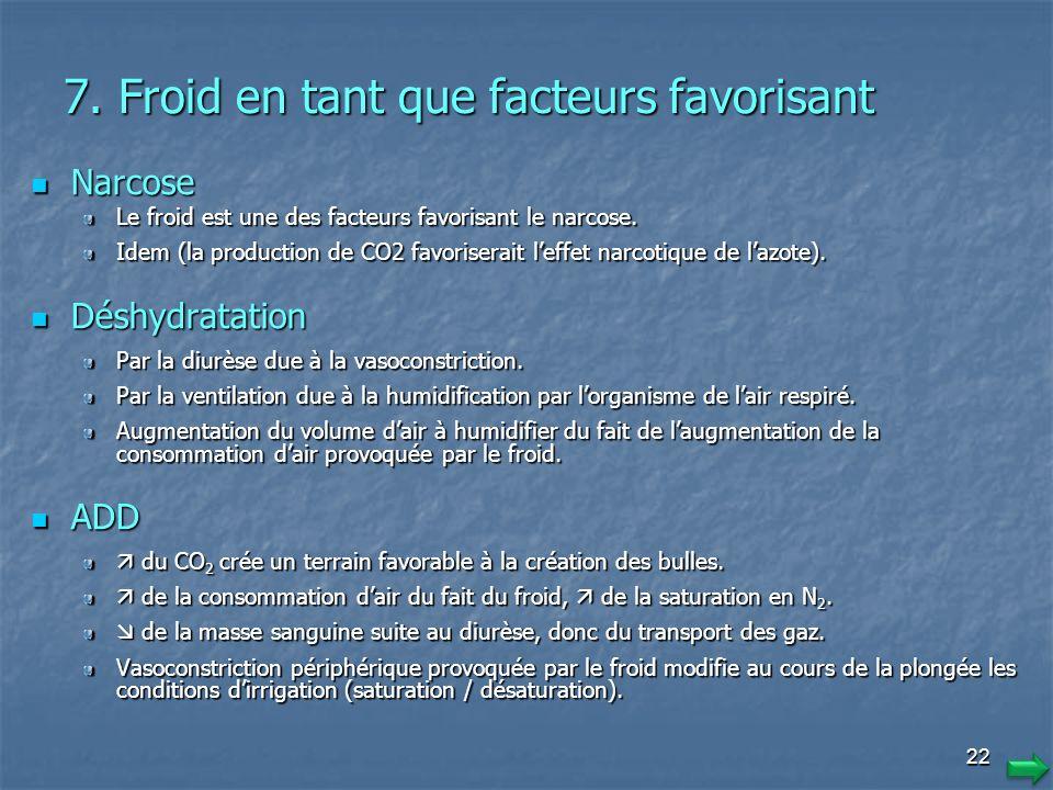 21 7. Froid en tant que facteur favorisant Essoufflement Essoufflement Le froid modifie notre système ventilatoire. Cest un reflexe de lorganisme face