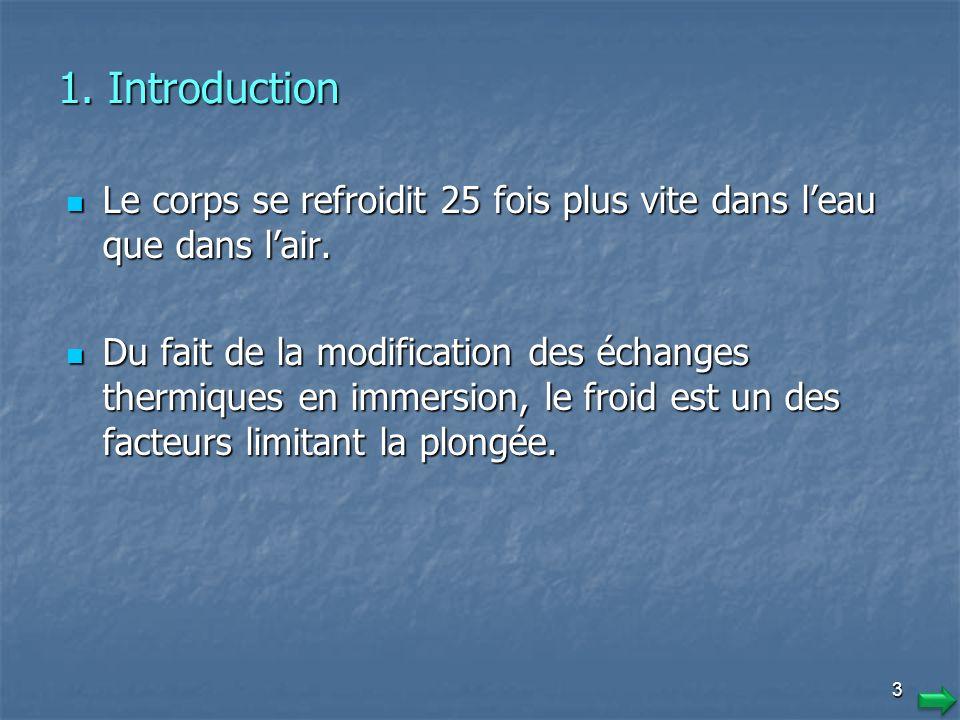 3 1.Introduction Le corps se refroidit 25 fois plus vite dans leau que dans lair.