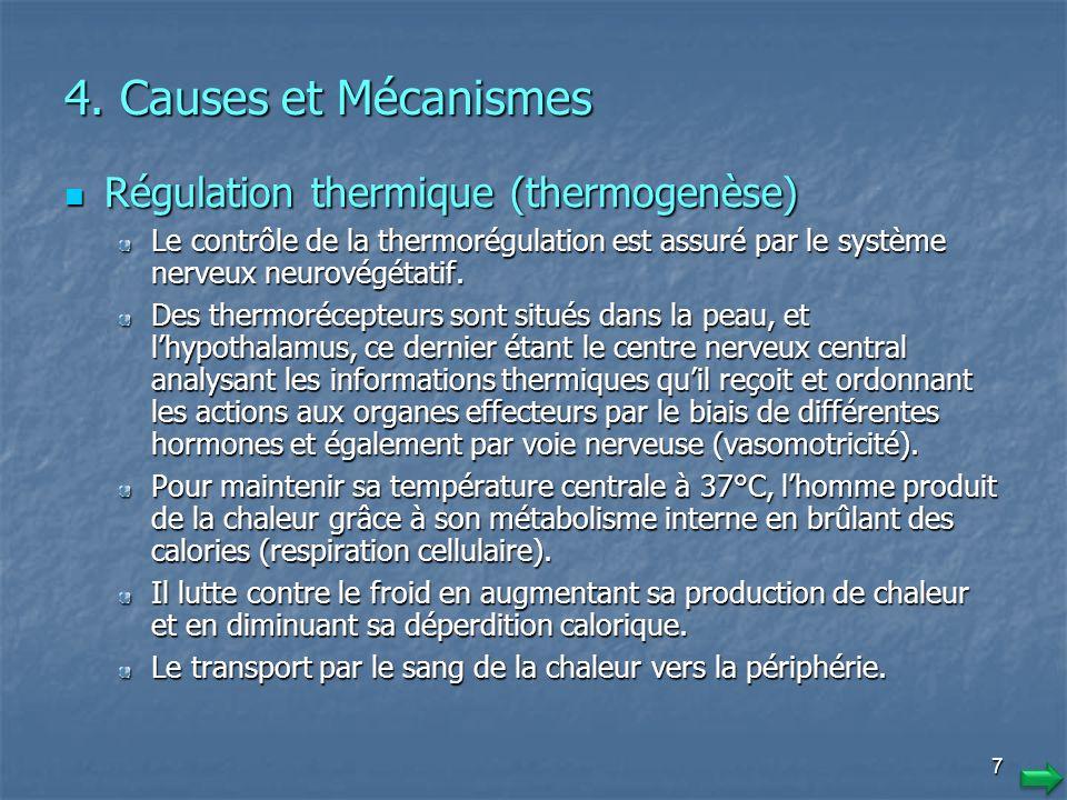 1717 Signes du refroidissement Hypothermie faible Hypothermie modérée Hypothermie grave 36° C < T° <37° C 33° C < T° < 35° C, T° < 32° C Chair de poule, frissons, diminution de lhabileté motrice, crampes, repli sur soi Engourdissements avec diminution progressive du frisson, prostré Rigidité intense Tachycardie Pâleur, extrémités froides, Bradycardie Arythmie cardiaque Polypnée Bradypnée progressive Arrêt ventilatoire Diminution de l efficience intellectuelle, irritabilité, manque de motivation Altération de la conscience (état stuporeux).