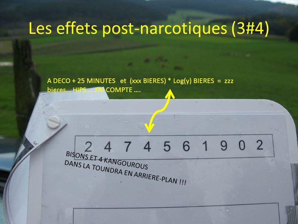 Les effets post-narcotiques (3#4) A DECO + 25 MINUTES et (xxx BIERES) * Log(y) BIERES = zzz bieres… HIPS … JAI COMPTE …. BISONS ET 4 KANGOUROUS DANS L