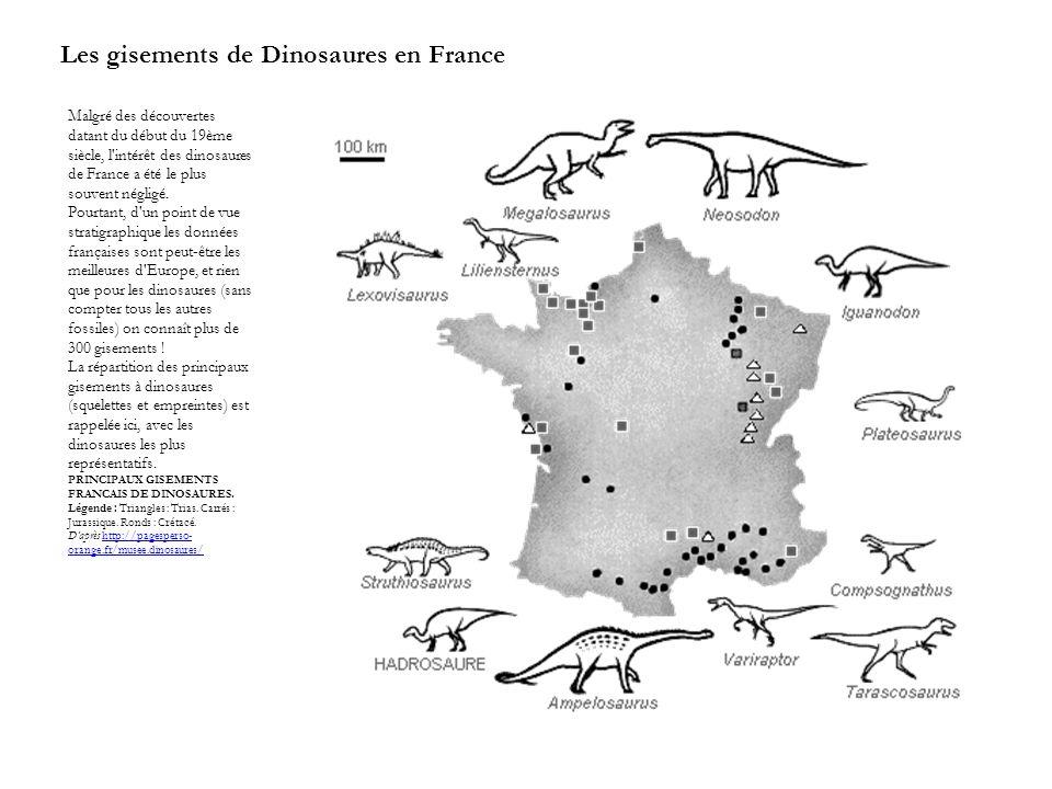 Les gisements de Dinosaures en France Malgré des découvertes datant du début du 19ème siècle, l'intérêt des dinosaures de France a été le plus souvent
