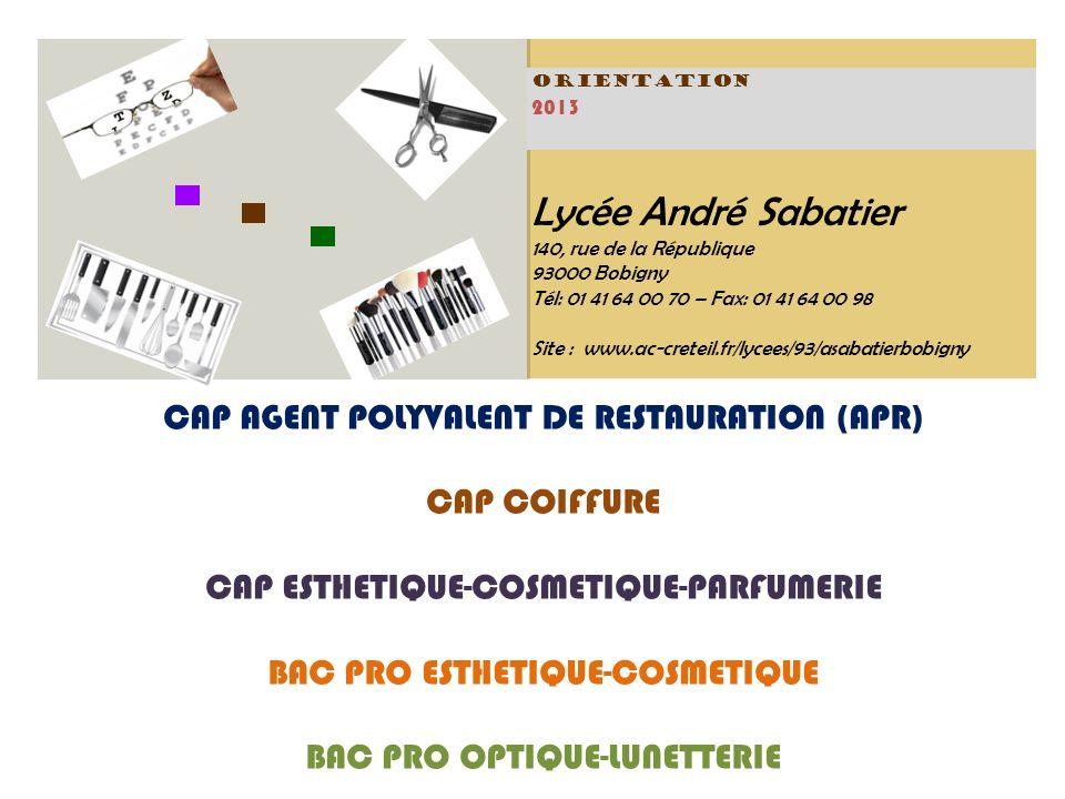 Lycée André Sabatier 140, rue de la République 93000 Bobigny Tél: 01 41 64 00 70 – Fax: 01 41 64 00 98 Site : www.ac-creteil.fr/lycees/93/asabatierbobigny ORIENTATION 2013 CAP AGENT POLYVALENT DE RESTAURATION (APR) CAP COIFFURE CAP ESTHETIQUE-COSMETIQUE-PARFUMERIE BAC PRO ESTHETIQUE-COSMETIQUE BAC PRO OPTIQUE-LUNETTERIE