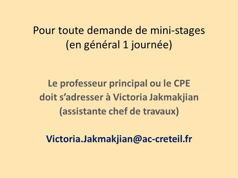 Pour toute demande de mini-stages (en général 1 journée) Le professeur principal ou le CPE doit sadresser à Victoria Jakmakjian (assistante chef de travaux) Victoria.Jakmakjian@ac-creteil.fr
