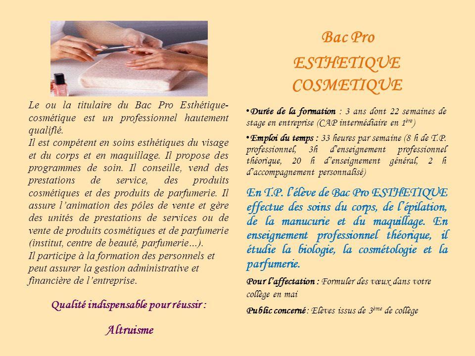 Le ou la titulaire du Bac Pro Esthétique- cosmétique est un professionnel hautement qualifié. Il est compétent en soins esthétiques du visage et du co