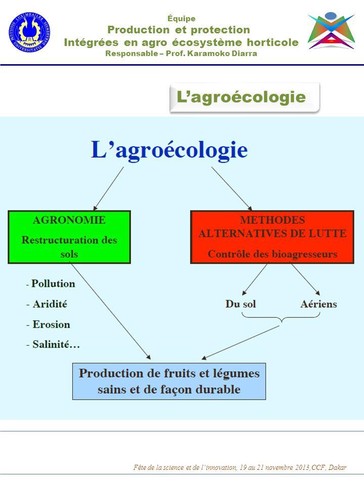 Lagroécologie Équipe Production et protection Intégrées en agro écosystème horticole Responsable – Prof. Karamoko Diarra Fête de la science et de linn