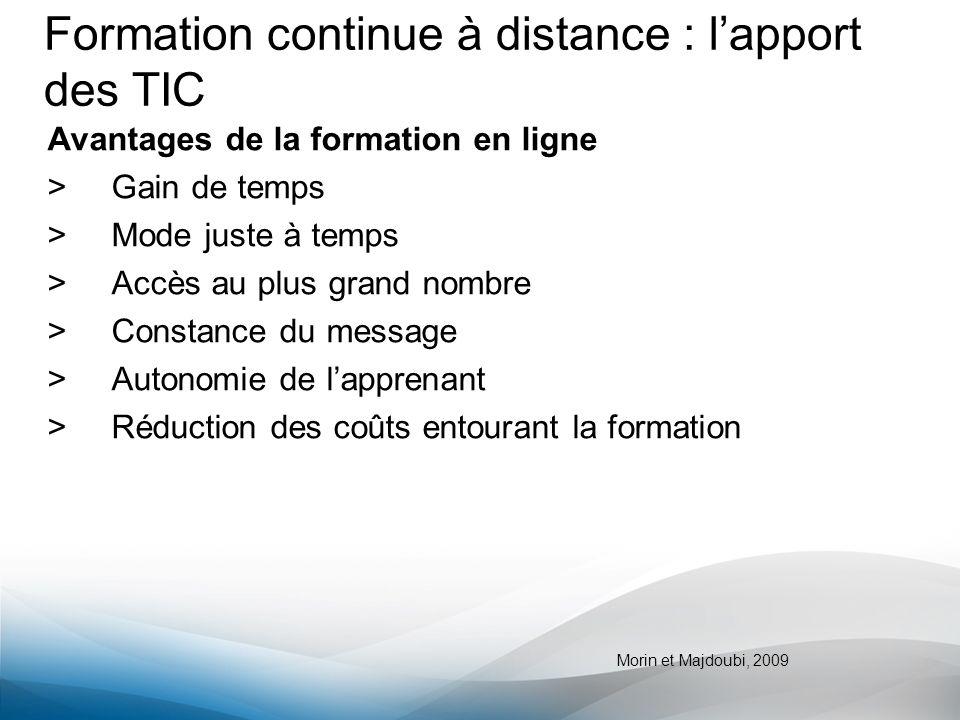 Formation continue à distance : lapport des TIC Avantages de la formation en ligne >Gain de temps >Mode juste à temps >Accès au plus grand nombre >Con