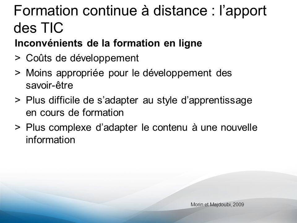 Formation continue à distance : lapport des TIC Inconvénients de la formation en ligne >Coûts de développement >Moins appropriée pour le développement