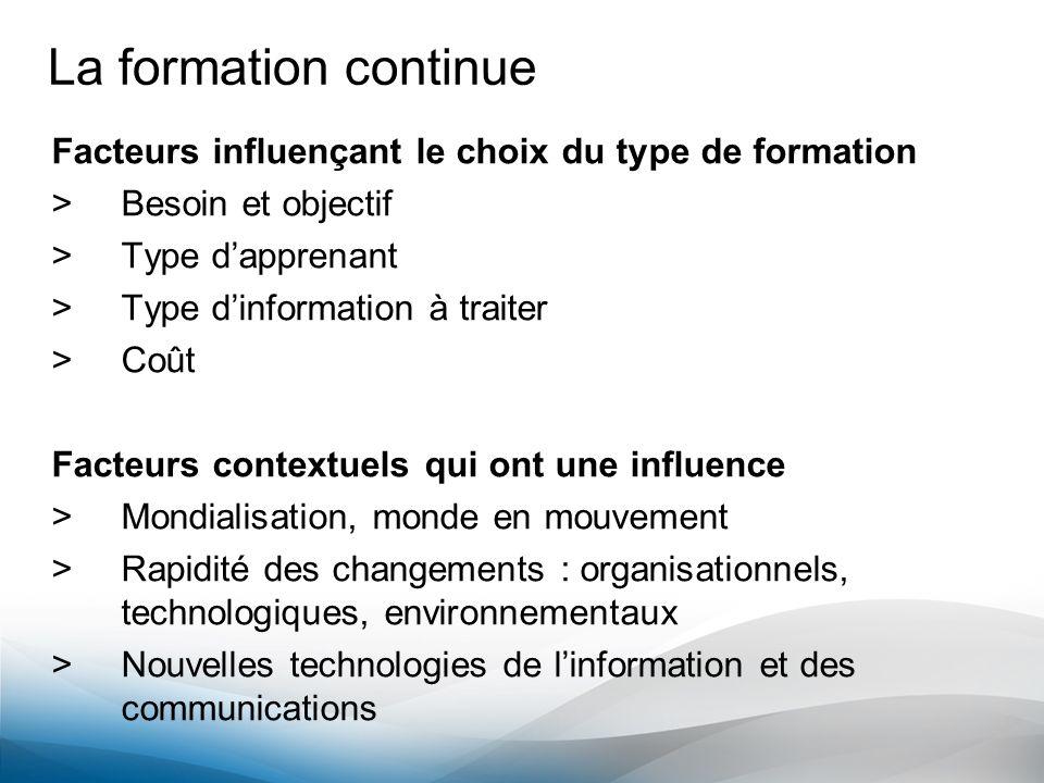 La formation continue Facteurs influençant le choix du type de formation >Besoin et objectif >Type dapprenant >Type dinformation à traiter >Coût Facte