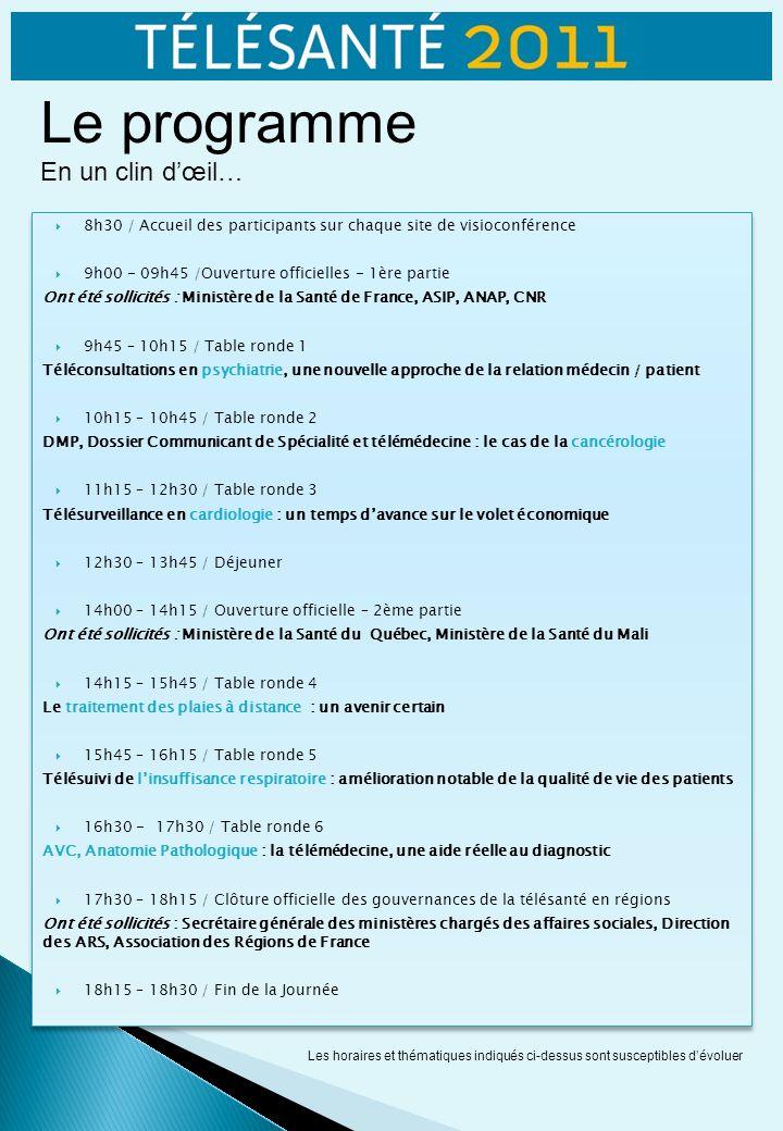 8h30 / Accueil des participants sur chaque site de visioconférence 9h00 - 09h45 /Ouverture officielles - 1ère partie Ont été sollicités : Ministère de la Santé de France, ASIP, ANAP, CNR 9h45 – 10h15 / Table ronde 1 Téléconsultations en psychiatrie, une nouvelle approche de la relation médecin / patient 10h15 – 10h45 / Table ronde 2 DMP, Dossier Communicant de Spécialité et télémédecine : le cas de la cancérologie 11h15 – 12h30 / Table ronde 3 Télésurveillance en cardiologie : un temps davance sur le volet économique 12h30 – 13h45 / Déjeuner 14h00 – 14h15 / Ouverture officielle – 2ème partie Ont été sollicités : Ministère de la Santé du Québec, Ministère de la Santé du Mali 14h15 – 15h45 / Table ronde 4 Le traitement des plaies à distance : un avenir certain 15h45 – 16h15 / Table ronde 5 Télésuivi de linsuffisance respiratoire : amélioration notable de la qualité de vie des patients 16h30 - 17h30 / Table ronde 6 AVC, Anatomie Pathologique : la télémédecine, une aide réelle au diagnostic 17h30 – 18h15 / Clôture officielle des gouvernances de la télésanté en régions Ont été sollicités : Secrétaire générale des ministères chargés des affaires sociales, Direction des ARS, Association des Régions de France 18h15 – 18h30 / Fin de la Journée 8h30 / Accueil des participants sur chaque site de visioconférence 9h00 - 09h45 /Ouverture officielles - 1ère partie Ont été sollicités : Ministère de la Santé de France, ASIP, ANAP, CNR 9h45 – 10h15 / Table ronde 1 Téléconsultations en psychiatrie, une nouvelle approche de la relation médecin / patient 10h15 – 10h45 / Table ronde 2 DMP, Dossier Communicant de Spécialité et télémédecine : le cas de la cancérologie 11h15 – 12h30 / Table ronde 3 Télésurveillance en cardiologie : un temps davance sur le volet économique 12h30 – 13h45 / Déjeuner 14h00 – 14h15 / Ouverture officielle – 2ème partie Ont été sollicités : Ministère de la Santé du Québec, Ministère de la Santé du Mali 14h15 – 15h45 / Table ronde 4 Le traitement des plaies à dista