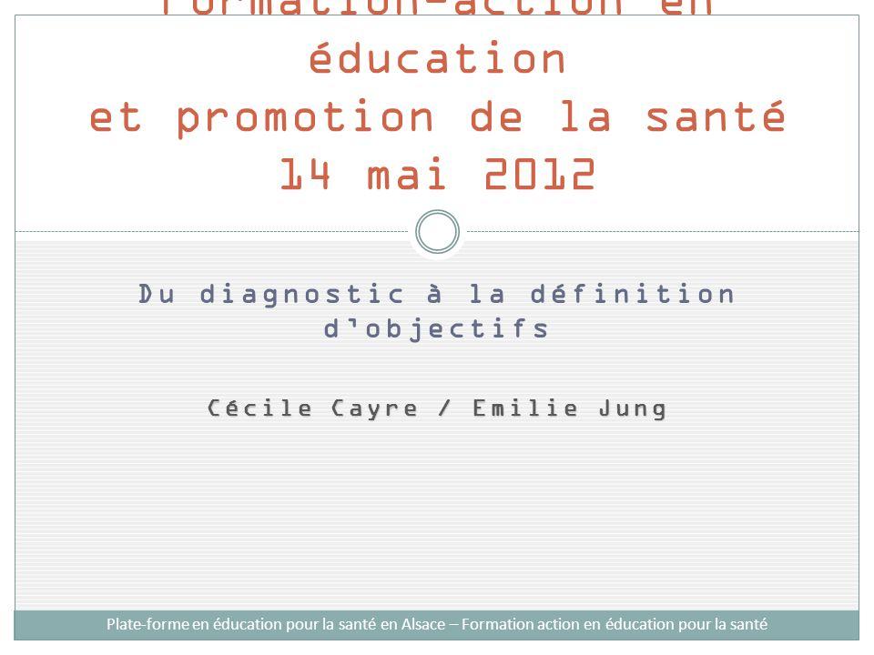 Du diagnostic à la définition dobjectifs Cécile Cayre / Emilie Jung Formation-action en éducation et promotion de la santé 14 mai 2012 Plate-forme en éducation pour la santé en Alsace – Formation action en éducation pour la santé