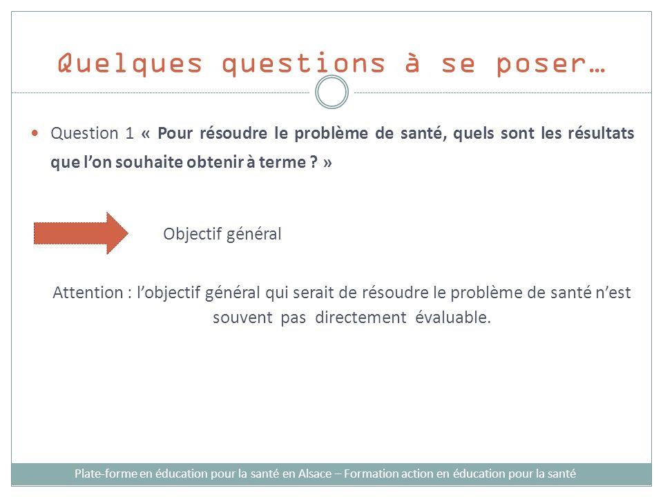 Quelques questions à se poser… Plate-forme en éducation pour la santé en Alsace – Formation action en éducation pour la santé Question 1 « Pour résoudre le problème de santé, quels sont les résultats que lon souhaite obtenir à terme .
