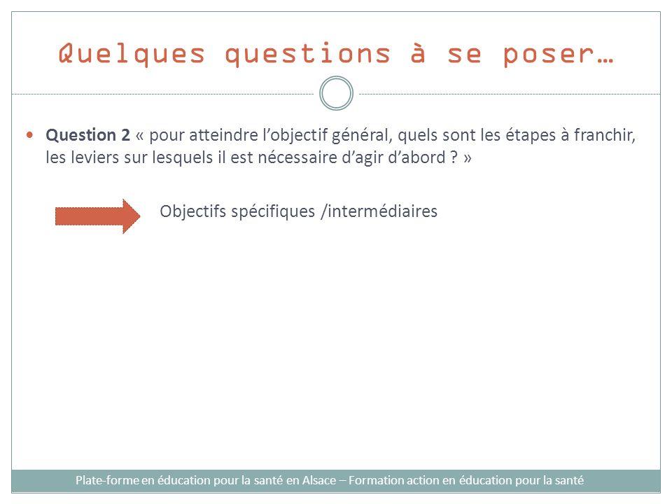 Quelques questions à se poser… Plate-forme en éducation pour la santé en Alsace – Formation action en éducation pour la santé Question 2 « pour atteindre lobjectif général, quels sont les étapes à franchir, les leviers sur lesquels il est nécessaire dagir dabord .