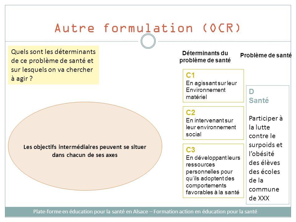 Autre formulation (OCR) Plate-forme en éducation pour la santé en Alsace – Formation action en éducation pour la santé Déterminants du problème de san