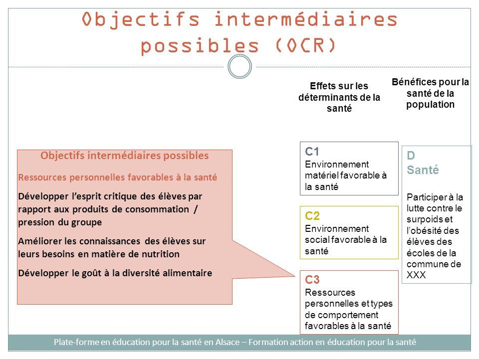 Objectifs intermédiaires possibles (OCR) Plate-forme en éducation pour la santé en Alsace – Formation action en éducation pour la santé Effets sur les