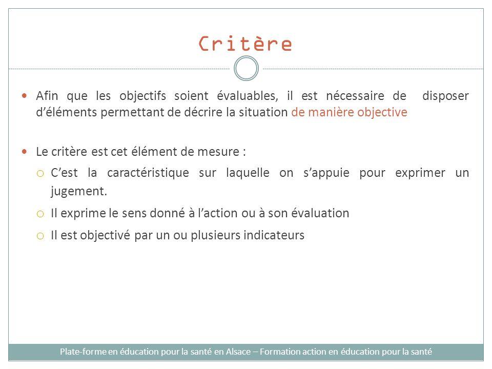Critère Plate-forme en éducation pour la santé en Alsace – Formation action en éducation pour la santé Afin que les objectifs soient évaluables, il es