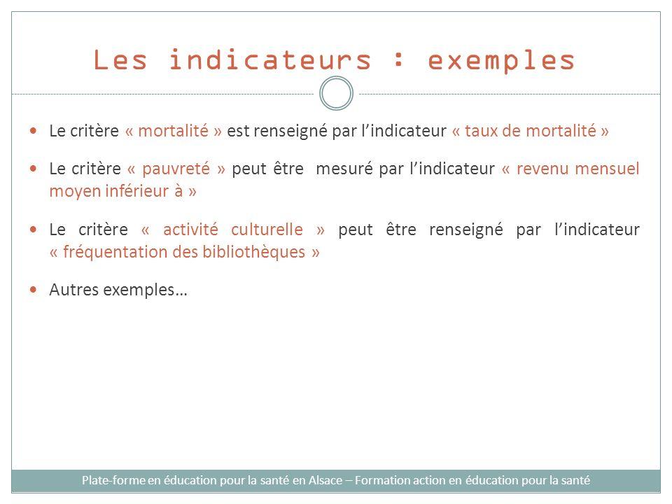 Les indicateurs : exemples Plate-forme en éducation pour la santé en Alsace – Formation action en éducation pour la santé Le critère « mortalité » est