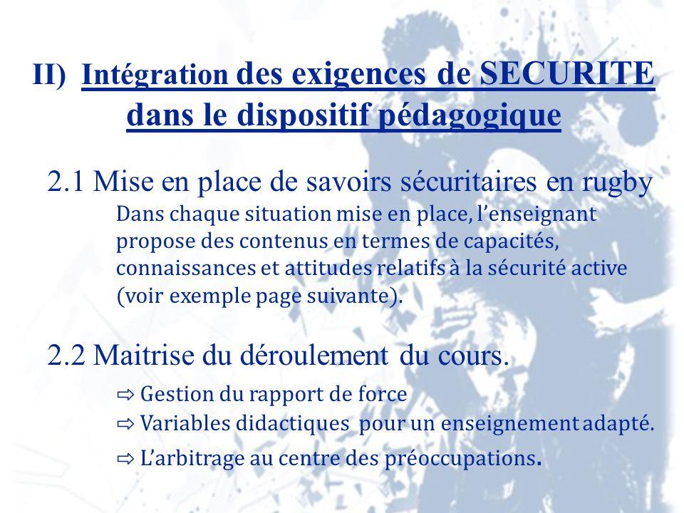 II) Intégration des exigences de SECURITE dans le dispositif pédagogique 2.1 Mise en place de savoirs sécuritaires en rugby Dans chaque situation mise en place, lenseignant propose des contenus en termes de capacités, connaissances et attitudes relatifs à la sécurité active (voir exemple page suivante).