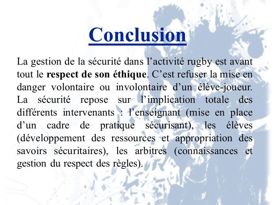 Conclusion La gestion de la sécurité dans lactivité rugby est avant tout le respect de son éthique.