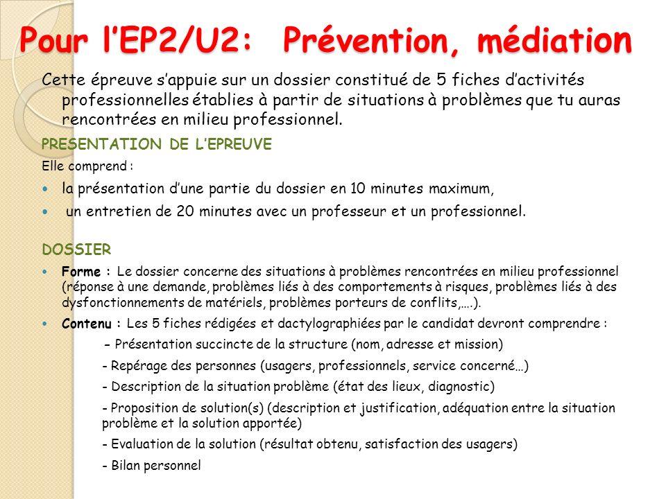 Pour lEP2/U2: Prévention, médiati on Cette épreuve sappuie sur un dossier constitué de 5 fiches dactivités professionnelles établies à partir de situa