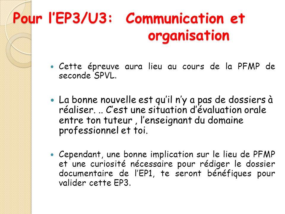 Pour lEP3/U3: Communication et organisation Cette épreuve aura lieu au cours de la PFMP de seconde SPVL.