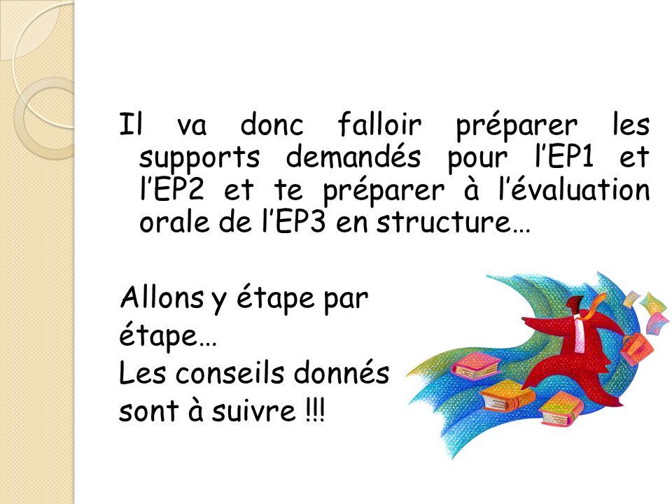 Il va donc falloir préparer les supports demandés pour lEP1 et lEP2 et te préparer à lévaluation orale de lEP3 en structure… Allons y étape par étape… Les conseils donnés sont à suivre !!!