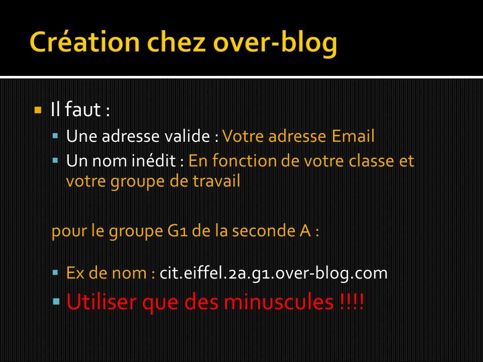 Il faut : Une adresse valide : Votre adresse Email Un nom inédit : En fonction de votre classe et votre groupe de travail pour le groupe G1 de la seconde A : Ex de nom : cit.eiffel.2a.g1.over-blog.com Utiliser que des minuscules !!!!