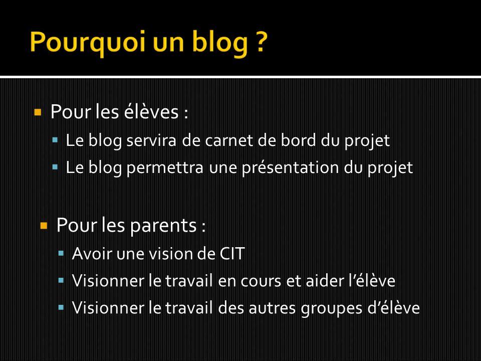 Pour les élèves : Le blog servira de carnet de bord du projet Le blog permettra une présentation du projet Pour les parents : Avoir une vision de CIT Visionner le travail en cours et aider lélève Visionner le travail des autres groupes délève