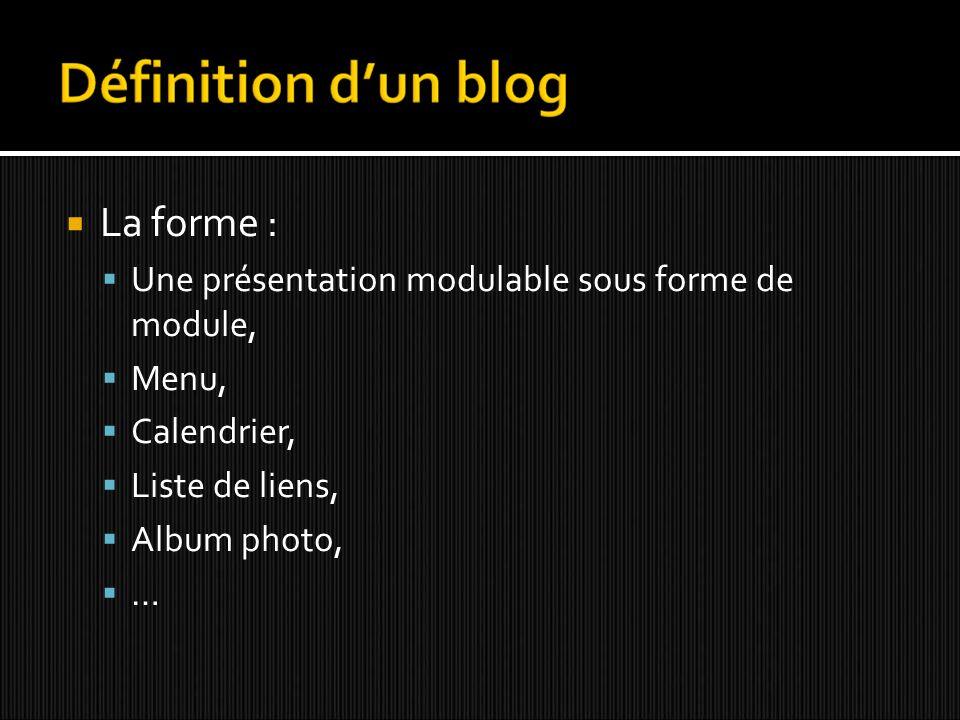 La forme : Une présentation modulable sous forme de module, Menu, Calendrier, Liste de liens, Album photo, …