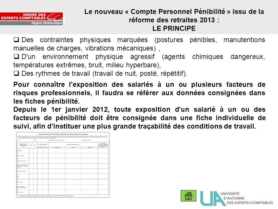 12 Le nouveau « Compte Personnel Pénibilité » issu de la réforme des retraites 2013 : LE PRINCIPE Des contraintes physiques marquées (postures pénible