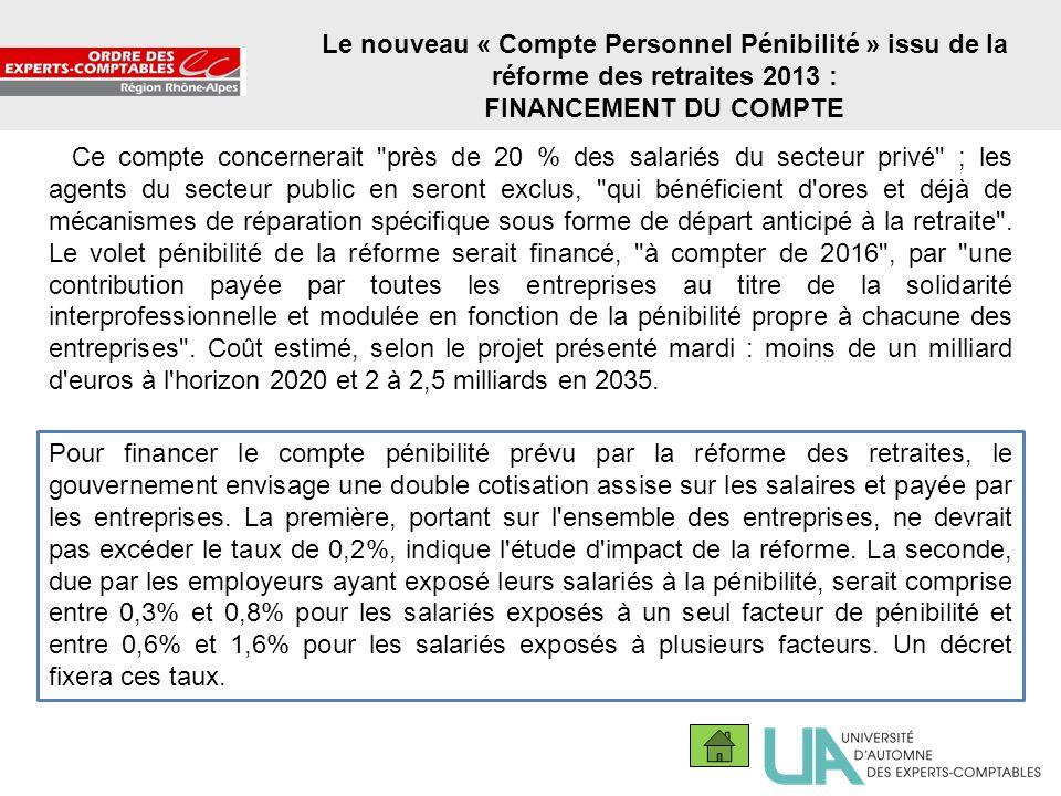 14 Le nouveau « Compte Personnel Pénibilité » issu de la réforme des retraites 2013 : FINANCEMENT DU COMPTE Ce compte concernerait